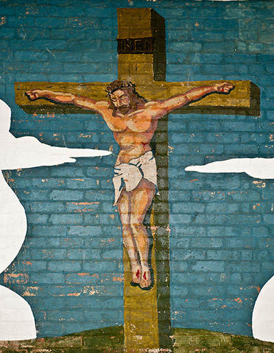 A mural depicting Christ by Bud Doyle